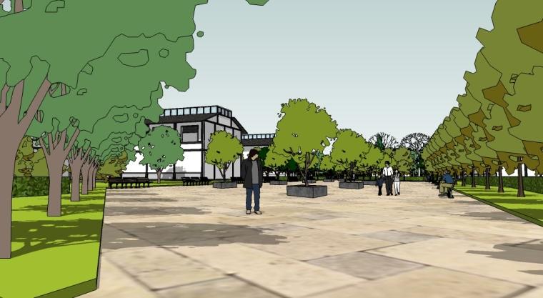 滨水居住区规划设计SU模型