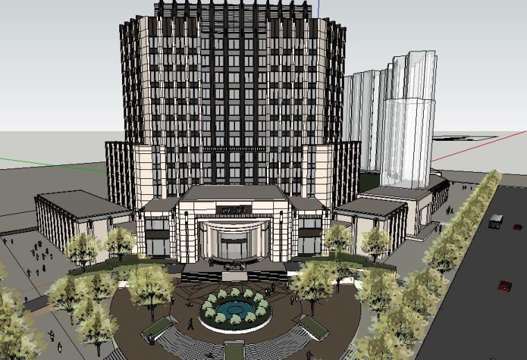 欧陆风格酒店及旅馆SU模型设计