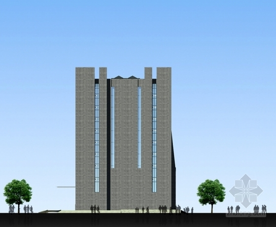 [湖北]10层现代风格生产调度通信办公楼建筑设计方案文本(知名设计院)-10层现代风格生产调度通信办公楼立面楼