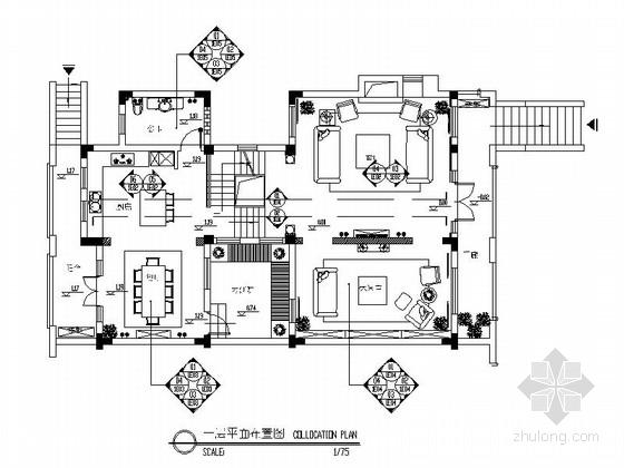 [合肥]高档社区欧式风格双层别墅样板房装修图