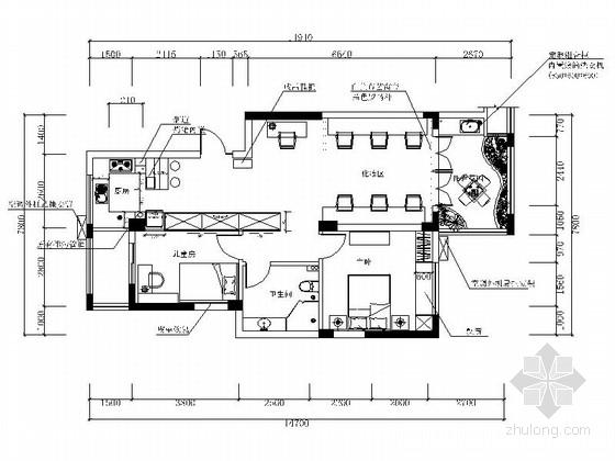 [重庆]高端住宅小区现代两居室商品房设计装修图