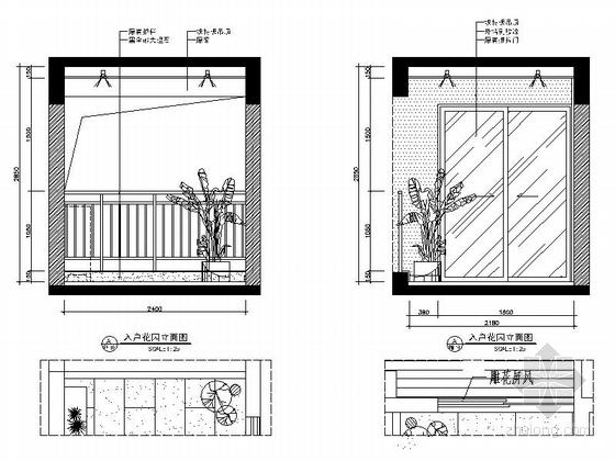 [广西]简欧风格四居室样板房装修图(含效果)入户花园立面图