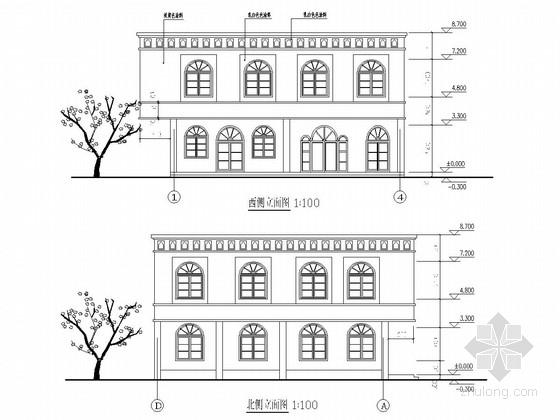 两层框架结构无花果餐厅结构施工图(含建筑图 采暖 给排水图)
