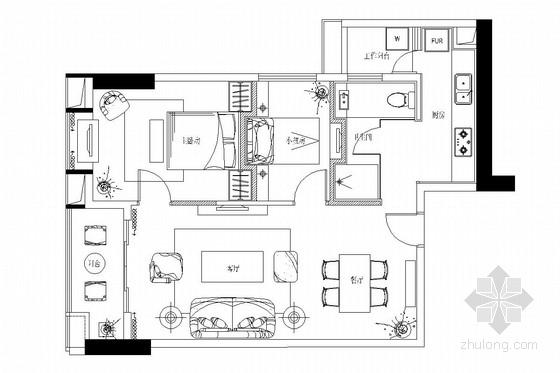 [广州]高档公寓式管理商住楼现代风格两居室装修图