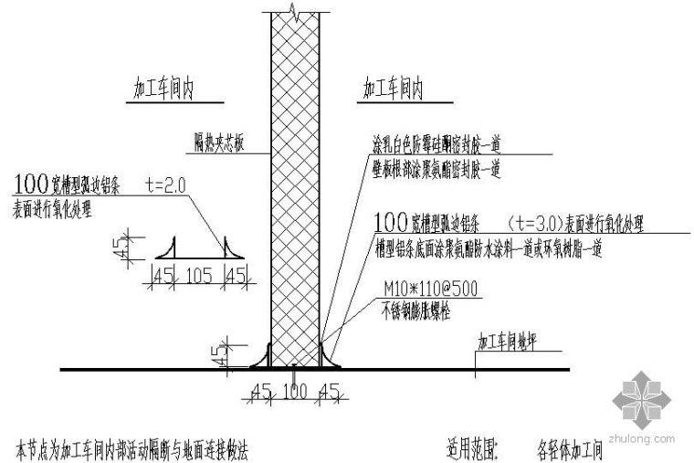 某加工车间内部活动隔断与地面连接做法节点构造详图