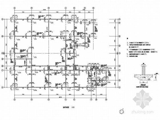 四层框架结构办公楼结构图(回字形)