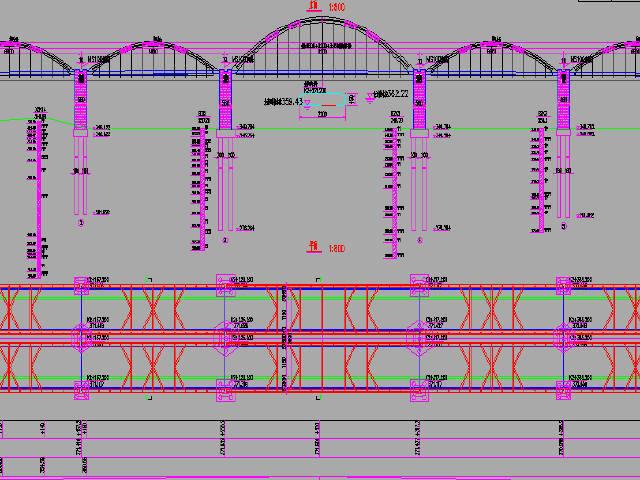 陕西渭河主桥(3x68+92+3x68)m下承式钢管系杆拱桥设计图133张CAD