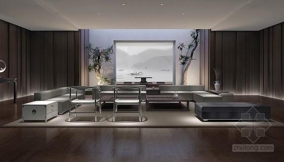 [无锡]独具特色现代中式四居室装修设计方案图客厅效果图