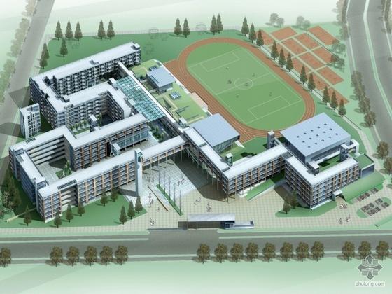 [富阳市]场口某中学规划及建筑设计文本及CAD扩初(带效果图)