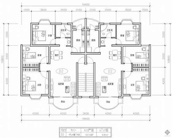 板式多层一梯二户三室一厅一卫户型图(107/107)