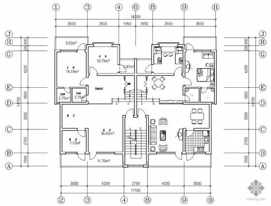 板式高层一梯二户有跃层户型图(208/208)