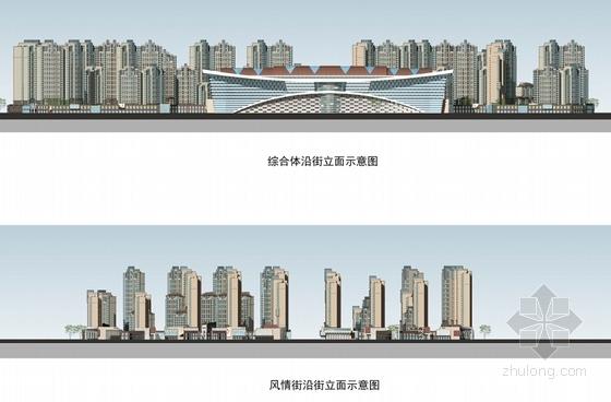 [甘肃]高层城市综合商贸广场建筑设计方案文本(多个方案)-高层城市综合商贸广场立面图