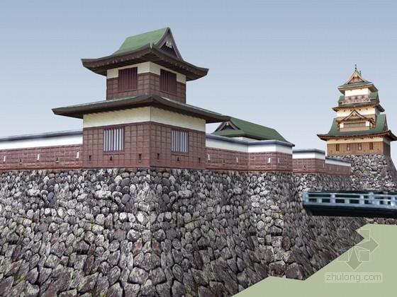 古建筑城墙SketchUp模型下载