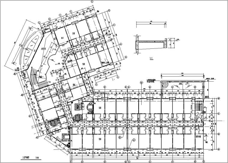 5套现代多层宾馆酒店建筑设计施工图CAD-豪泉多层酒店建筑设计平面图3
