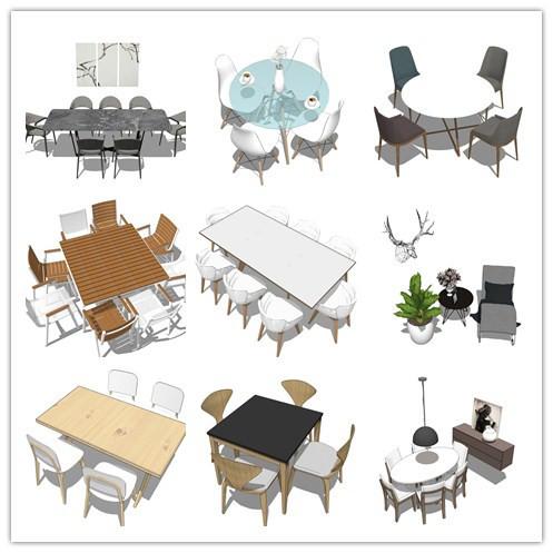 50套北欧风格SU模型[餐桌]