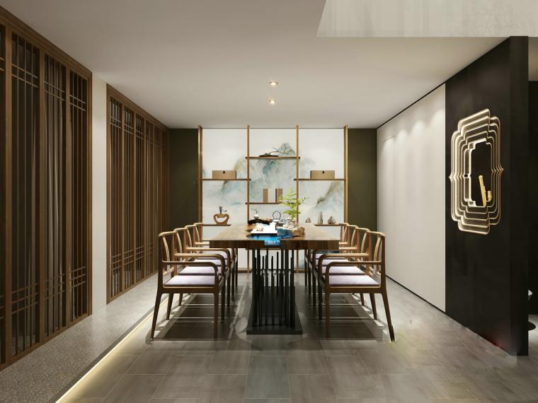 高级橄榄绿中式简约餐厅3D模型