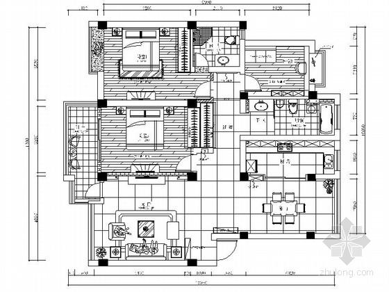 [昆山]简洁现代风格三居室样板间装修施工图