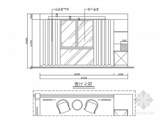 现代三居室家庭装修施工图(含效果图) 立面图