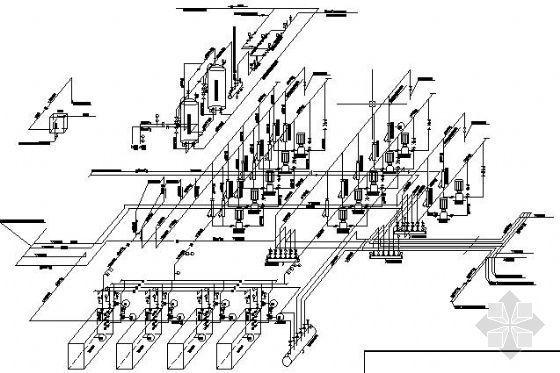 某制冷加热站水系统轴侧图
