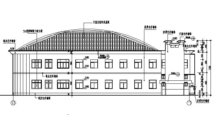 两层新古典主义风格食堂建筑设计施工图