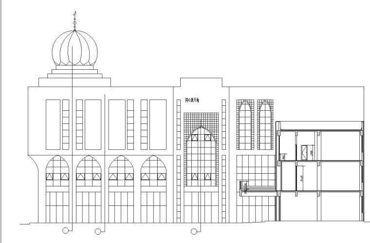 [宁夏]三层伊斯兰风格框架结构商业广场建筑施工图(含效果图)