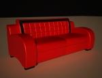 红色皮沙发3D模型下载