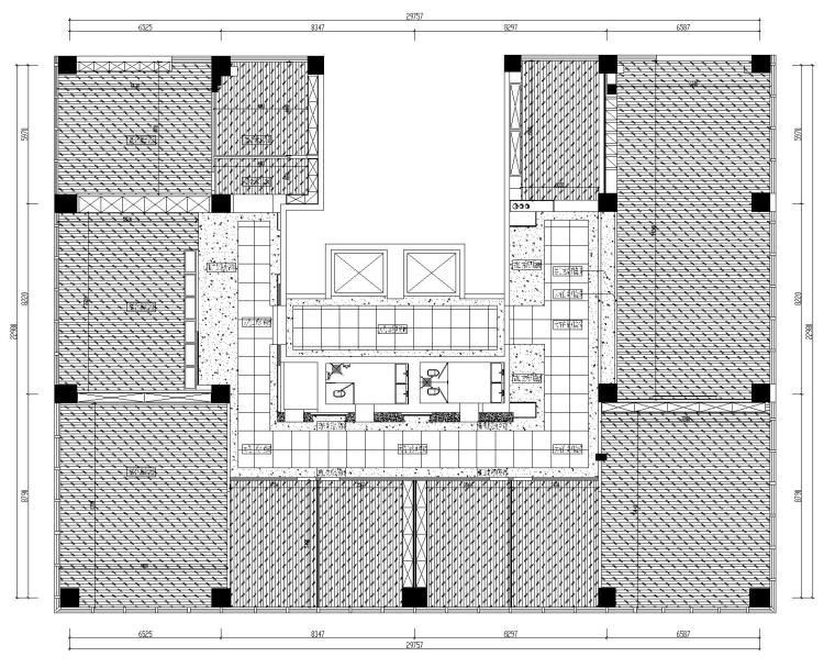[山东]混搭--黄海城市花园七层办公平面装修施工图+效果图-地面铺贴布置图