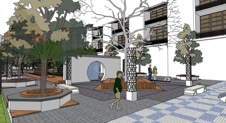 新中式小区景观SU模型——宅间休闲广场
