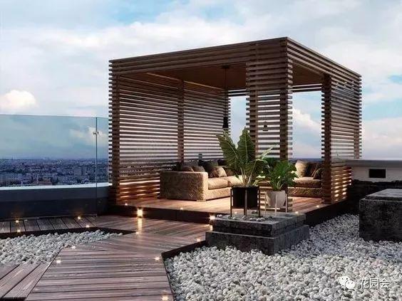 庭院防腐木廊架和地台合集