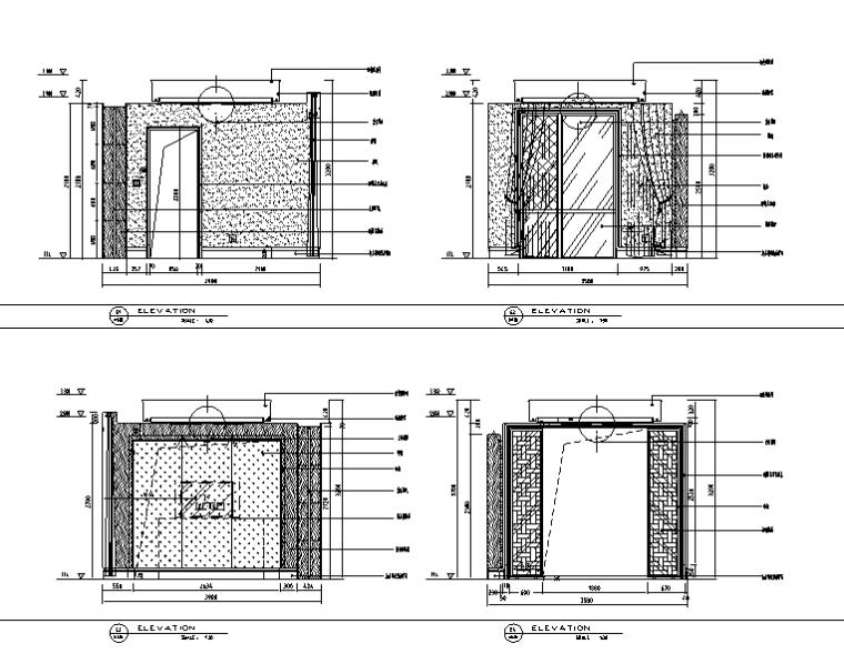 现代风格别墅总统套房设计施工图(附效果图)-餐厅立面图