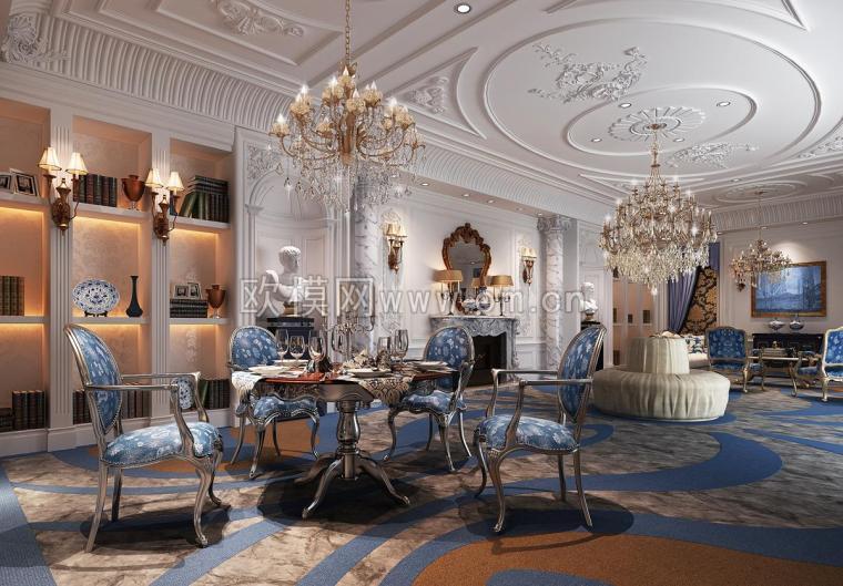 欧式餐厅客厅组合效果图