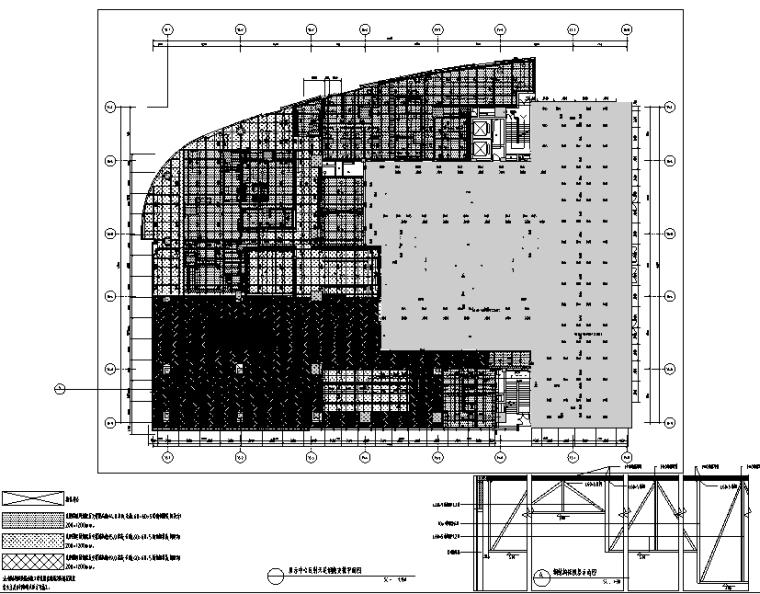 知名地产前海售楼处设计施工图(附效果图+物料清单+软装方案)-反射天花支撑钢架平面图