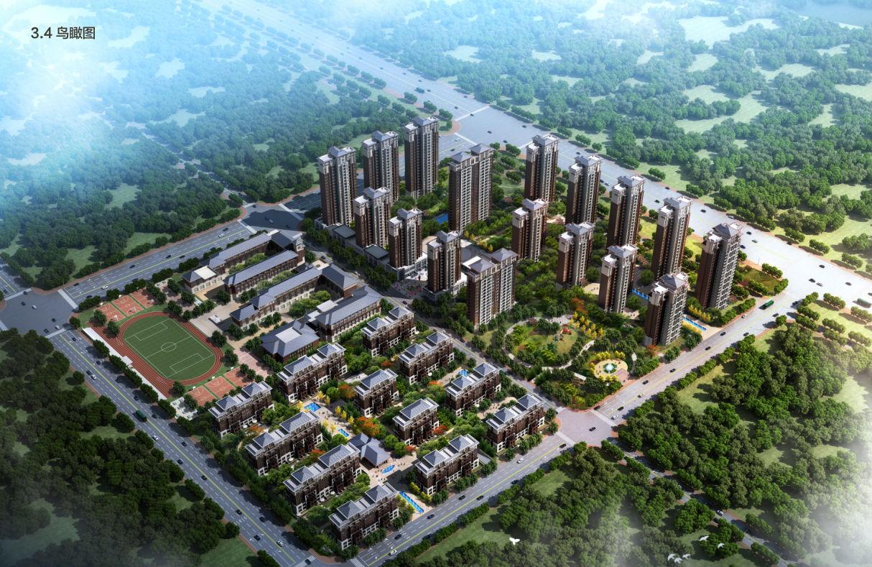[方案][河北]新中式风格塔式住宅建筑设计方案文本(含学校及商业建筑)图片