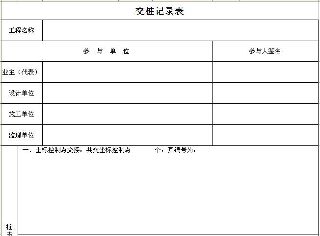 交桩、复测报告表