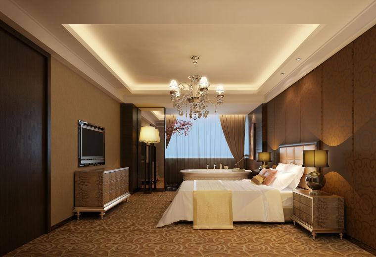 新毫酒店--豪华套房卧室效果图