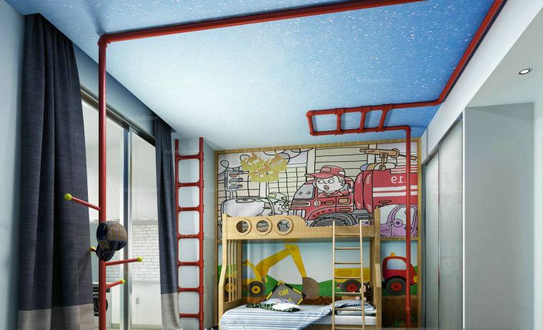 涂鸦风格管道儿童房3D模型