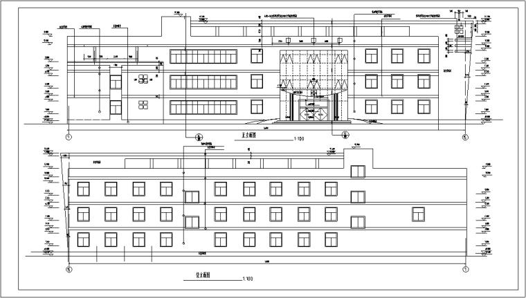 5套现代多层宾馆酒店建筑设计施工图CAD-多层宾馆建筑设计立面图