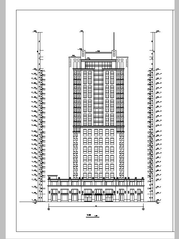 现代高层宾馆酒店建筑设计施工图CAD-现代高层建筑设计立面图