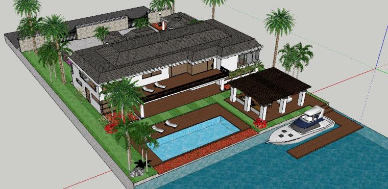 私家别墅庭院景观设计模型 下载