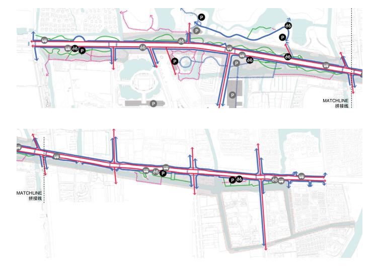 [江苏]东风河生态景观改造框架规划景观规划设计(PDF+39页)-流线分析