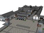 古建筑商业街建筑SU模型