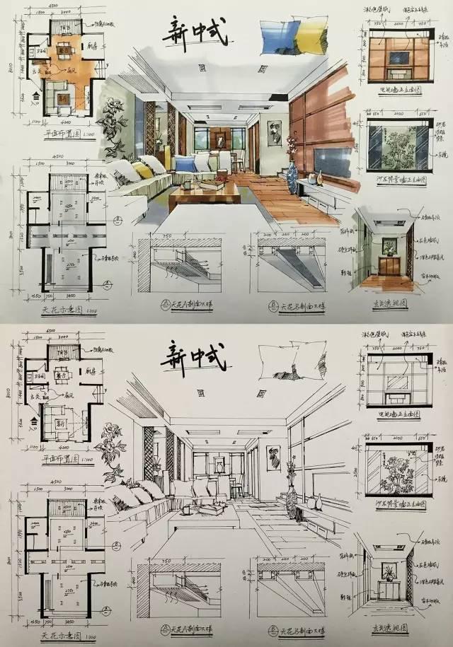 室内手绘 室内设计手绘马克笔上色快题分析图解_31