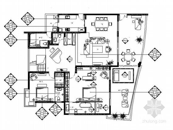 [重庆]港台知名设计师设计现代风格高层复式样板房施工图