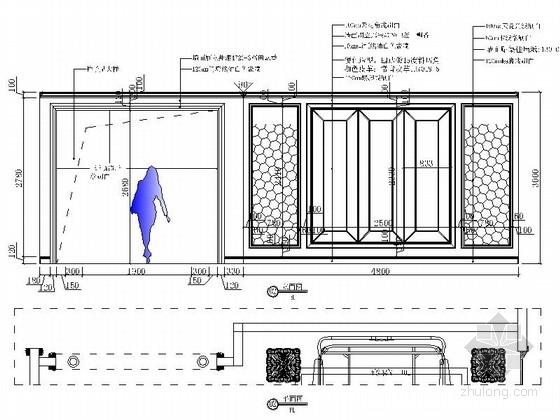 [北京]中外合资公司家具现代专卖店装修施工图立面图