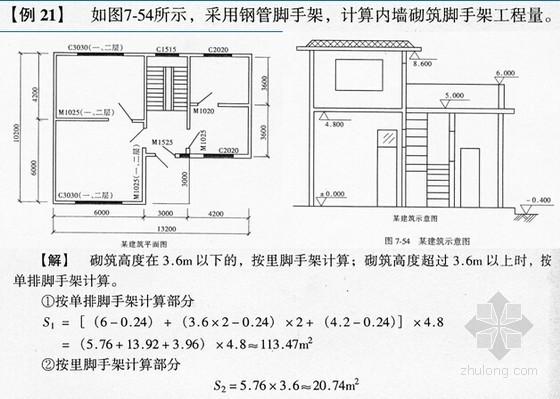 脚手架工程量计算实例精讲(9个附图实例)