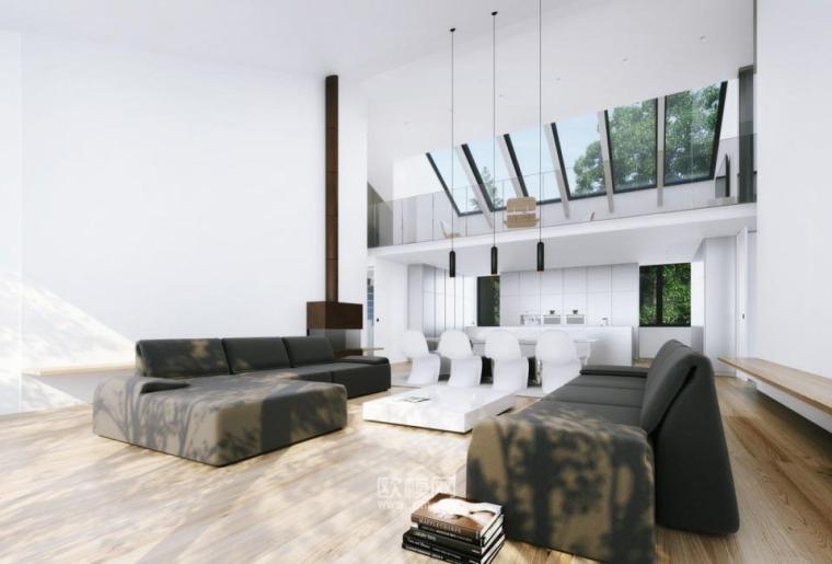 欧式简洁几何体私人别墅会所设计