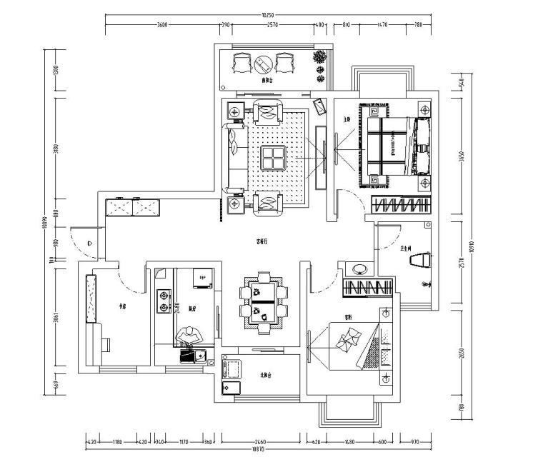 欧式风格实用型家装施工图设计(附实景图)