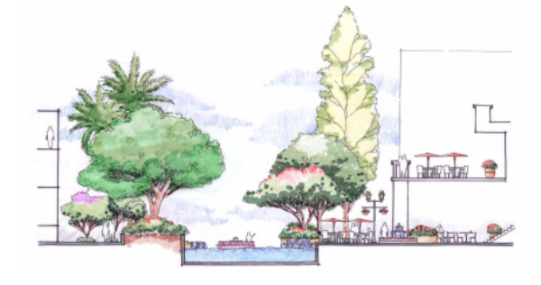 [广东]多功能多层次滨水休闲景观设计方案-剖面图