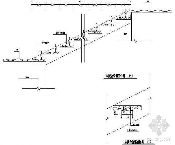木板台阶剖面详图