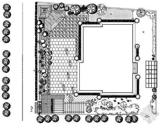 某别墅庭院绿化设计平面图